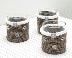 Windlichter - gehäkelte Teelichthalter mit Glaseinsatz - ein Designerstück von em-do bei DaWanda