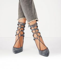 Grey suede lace-up heels // Free People Hierro Heels