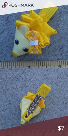 Handmade boutique hair clip yellow Lily hedgehog Brand-new handmade boutique hair clip Accessories Hair Accessories