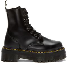 Ankle-high buffed leather boots in black. Round toe. Eight-eye lace-up closure. Zip closure at inner side. Logo pull-tab at heel collar. Signature contrasting welt stitch in yellow. Platform Air Cushion rubber sole. Tonal stitching.