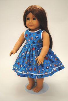 Patriotic 4th of July dress  for 18 Doll by NancysBigIdeas on Etsy, $15.00