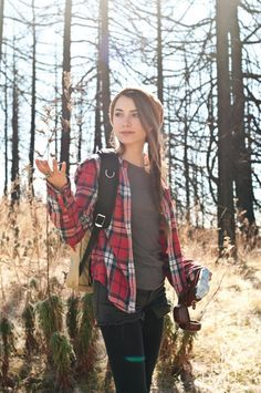casual outfits . camping outfits . hiking clothes . fishing wear . simple outfit ideas . fall outfits . flannel . plaid . beanie