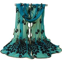 Bluelans® Women's Fashion Soft Floral Peacock Printed Long Muffler... (35 MAD) ❤ liked on Polyvore featuring accessories, scarves, blue scarves, wrap shawl, peacock shawl, long scarves and blue shawl