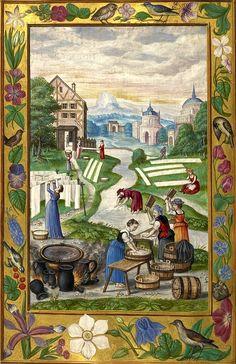 From: 'Splendor Solis' Alchimistische Handschrift, Nürnberg, 1531 Medieval Houses, Medieval Life, Medieval Art, Medieval Clothing, Medieval Manuscript, Illuminated Manuscript, Illuminated Letters, 16th Century Clothing, Solis