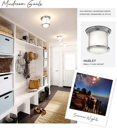 Renovated Lakeside Retreat - this kid-friendly mudroom keeps everyone organized in style. Featuring Hadley flush mount from Hinkley Lighting.   #mudroomorganization #hinkleystyle Hinkley Lighting, Sconce Lighting, Small Space Living, Small Spaces, Cottage Door, Fashion Lighting, Design Firms, White Walls, Hadley