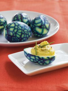 Deviled Eggs: Clever! Cook, crack, toss in a bit of food coloring, then proceed to make deviled eggs.