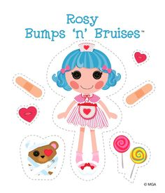 Free Rosy Bumps 'n' Bruises printable printed these cut out stick small stick able magnets on back covered in clear tape cute magnets! Paper Toys, Paper Crafts, Bug Crafts, Lalaloopsy Party, Time Kids, Art Party, Crafts For Kids, Activities For Kids, Soft Dolls