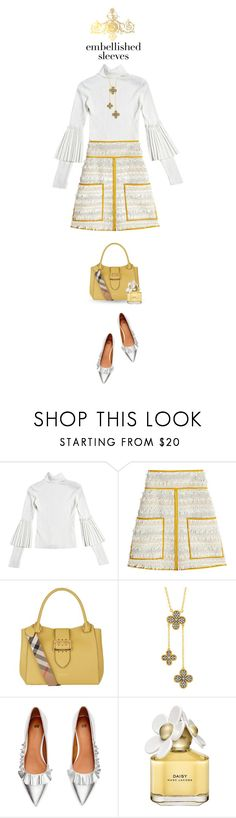 """""""sunny subtle"""" by collagette ❤ liked on Polyvore featuring See by Chloé, Burberry, Freida Rothman, H&M, Marc Jacobs, SeeByChloe and embellishedsleeves"""