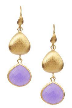 Rivka Friedman  18K Gold Clad Purple Quartzite & Pebble Dangle Earrings