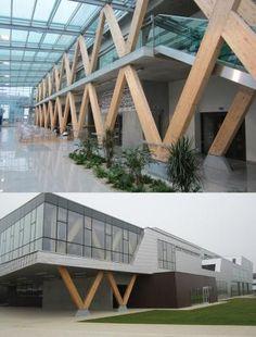 Concept Models Architecture, Contemporary Architecture, Architecture Details, Design Entrée, Facade Design, Cantilever Architecture, Timber Buildings, Entrance Design, Parking Design