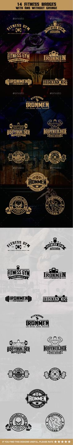 14 Fitness Badges Templates Vector EPS, AI Illustrator