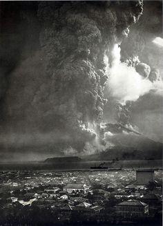 The eruption of Mt. Sakurajima in Japan, 1914.