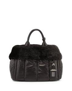 V24MJ Prada Napa Bomber & Mink Fur Garden Tote Bag, Black (Nero)