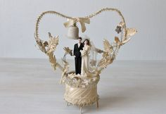 1930s Antique Bisque Art Deco Wedding Cake Topper