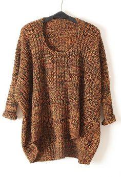 Yellow Batwing Long Sleeve Loose Pullovers Sweater - Sheinside.com #SheInside