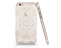 White Mandala Pattern Clear Transaprent Plastic Phone Case for Iphone 6 6s Yurishop