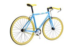 iWant7000 豔藍 Blue/Yellow  700C Bull Bar, Fixed Gear/Single Speed Dual Mode Urban Bicycle