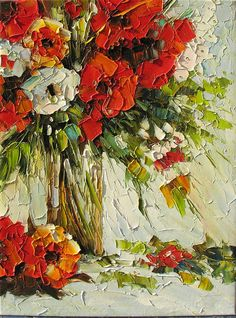 Happy 18 x 24 Flowers Original Oil Painting Red Vase Still Life Palette Knife Textured Red White Vase ART by Marchella #decorpro on #etsy