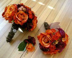 plum purple and orange wedding bouquet - Google Search