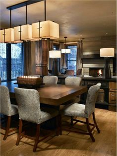 Great lighting for the diningroom...something out of the box. Love the square fabric shades with touches of oil rubbed bronze