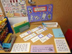 Silly Sally preschool writing center