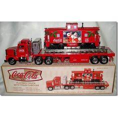Coca-Cola Flatbed Truck with Caboose Coke Ad, Coca Cola Ad, Always Coca Cola, World Of Coca Cola, Pepsi, Coca Cola Decor, Coca Cola Christmas, Soda Fountain, Vintage Items