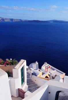 Amazing blue of the Aegean Sea ~ Santorini island, Greece