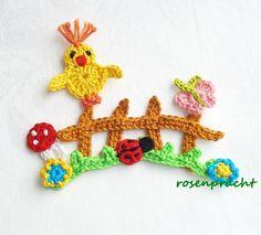 Häkeln Sie Applique – Applique – Garden Spring – ein D … - Diy garten Filet Crochet, Knit Or Crochet, Crochet Gifts, Cute Crochet, Crochet Motif, Crochet Flowers, Crochet Appliques, Easter Crochet, Crochet Baby Hats