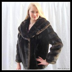 8afe4a51fa4c 1960s faux fur mink jacket, coat, vintage fur coat, black/dark brown, vegan  fur, mink jacket, faux mink, Tissavel,mink coat, sz Med/ Large