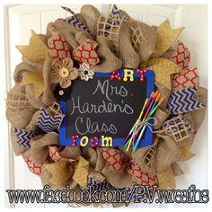 Art room wreath  School wreath  Teacher by PVwreathsByMelissa
