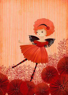 Children's Fairy Art Print Poppy Garden by TheFoxandTheTeacup
