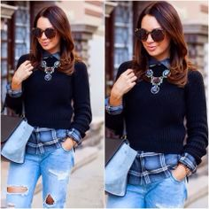 Plaid under sweater, statement necklace and ripped jeans