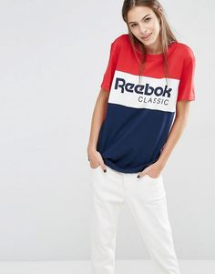 Reebok | Reebok Classics Panel Logo Oversized T-Shirt In Red And Navy