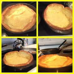 Dutch Baby Pancakes.  Recipe~  1.) 1/4cup +2Tbls. Flour  2.) 3 eggs  3.) 3oz. Milk  4.) 2Tbls. Butter  Preheat oven to 400'  Put 2Tbls. Of butter into 8in. Pie pan  After butter is melted pour mix of milk eggs and flour over butter. DO NOT mix Put in oven for 15 minutes at first WITHOUT opening oven  Once 15 mins. Is up check to see if needed to be cooked longer  *Optional* Sprinkle powdered sugar over and a little syrup.  Very easy and yummy. Good breakfast.    By: Morgan Lehman