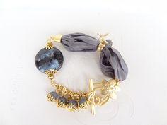 Grey Agate Bracelet, Turkish Silk  Bracelet , Gold Bracelet, Feminine, Handmade, by sevinchjewelry on Etsy https://www.etsy.com/listing/169239460/grey-agate-bracelet-turkish-silk