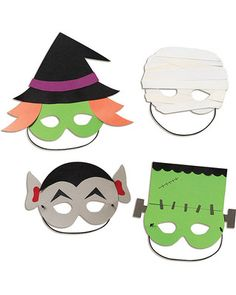Create your own costume with this fun glue-and-wear Halloween mask kit! Click above to buy a set of 8, including witch, mummy, Dracula, and monster designs.
