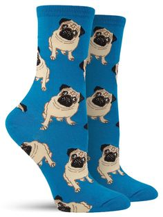 D'awwwww!!! Look at the purdy liddle pug! These pug socks are available in peach, black and blue backgrounds.