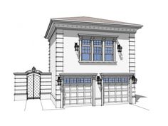 Greek Revivial Garage Plan with 1102 Square Feet and 1 Bedrooms from Dream Home Source | House Plan Code DHSW076722