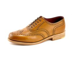 Ladies oxford brogue shoe, made from soft tan calf leather, with a Goodyear welted leather sole. This model is made in England. Oxford Brogues, Oxford Shoes, Brogue Shoe, Goodyear Welt, New Shoes, Calf Leather, Calves, Shoe Boots, Dress Shoes