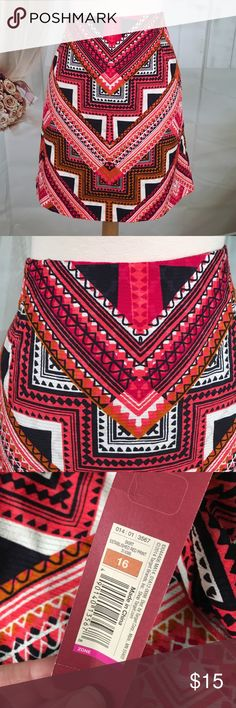 """Merona Multi Colored Short Skirt Today, featuring in Kaki Jo's closet is this awesome short skirt.  Love the vibrant colors! Fully lined.  Well made.  New with tags.  Size 16.  17 1/2"""" long. Merona Skirts Mini"""