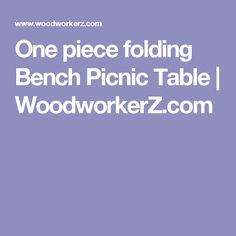 One piece folding Bench Picnic Table | WoodworkerZ.com