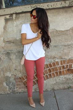 summer to fall outfit. White Boyfriend Tee, Faded cut-off red jeans, NUDE stilletos and crossbody clutch . with these hawkers co maroon mirrored sunglasses More