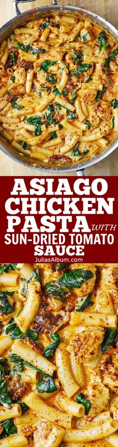 Asiago Chicken Pasta with Sun-Dried Tomatoes and Spinach - smothered in a delicious creamy ASIAGO cheese sauce!use gluten free pasta Asiago Chicken, Chicken Sausage, Pasta With Sausage, Seitan Chicken, Italian Sausage Pasta, Italian Sausage Recipes, Cooked Chicken, New Recipes, Cooking Tips