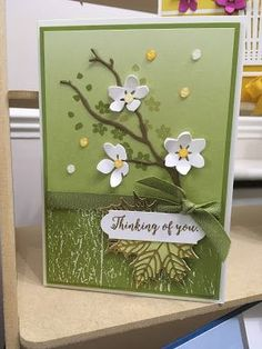 handmade greeting card ... die cut brancheswith die cut fruit buds ... greens ... with pops of white and yellow ... Stampin' Up!