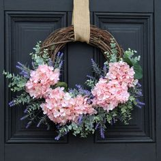 Light Pink Hydrangea, Lavender & Eucalyptus Asymmetrical Everyday Spring Front Door Wreath - Handmade Everything Spring Front Door Wreaths, Diy Spring Wreath, Holiday Wreaths, Mesh Wreaths, Wreath Crafts, Diy Wreath, Wreath Ideas, Pink Hydrangea, Hydrangea Wreath