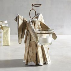 Small Driftwood Angel Tealight Candle Holder