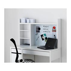 IKEA - MICKE, Add-on unit-high, white, Extra room above the top shelf where you can keep your books, CDs or DVDs. The side panels act as bookends and keep everything in place. Fits MICKE desk This product has been developed and tested for domestic use. Ikea Micke, Micke Desk, Study Room Decor, Bedroom Decor, Plastic Shelves, Desk Shelves, Furniture Logo, Cheap Furniture, Furniture Market