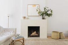 Tadelakt plaster fireplace surround in Brooklyn.