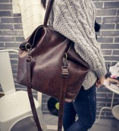 Cheap large tote bag, Buy Quality leather shoulder bag directly from China tote bag Suppliers: Black/Brown Womens Leather Handbags Soft PU Leather Shoulder Bag for Women Ladies Hand Bags Vintage Portable Large Totes Bag Crossbody Shoulder Bag, Shoulder Handbags, Vintage Messenger Bag, Messenger Bags, Big Tote Bags, Women's Bags, Vegan Clothing, Leather Fashion, Women's Handbags