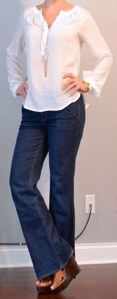 simple! outfit post: white cotton peasant blouse, flared jeans, brown wood wedges | Outfit Posts Dynamic